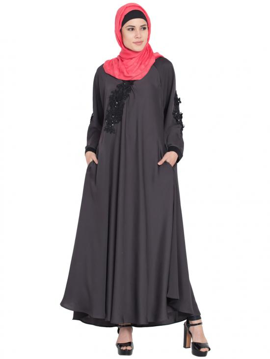 100% Polyester Satin Embroidered Patch Umbrella Abaya In Dark Grey