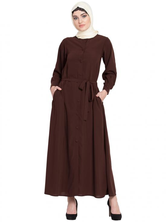 100% Polyester Crepe Front Open Belt Casual Abaya In Brown
