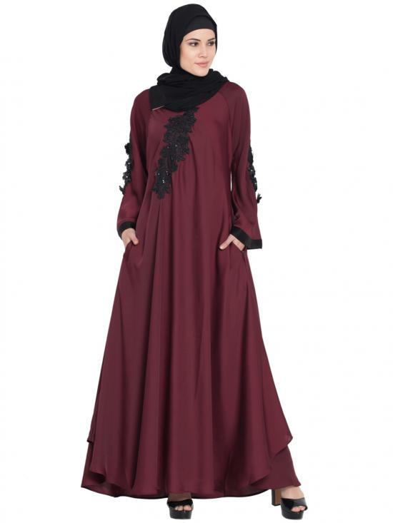 100% Polyester Satin Embroidered Patch Umbrella Abaya In Maroon