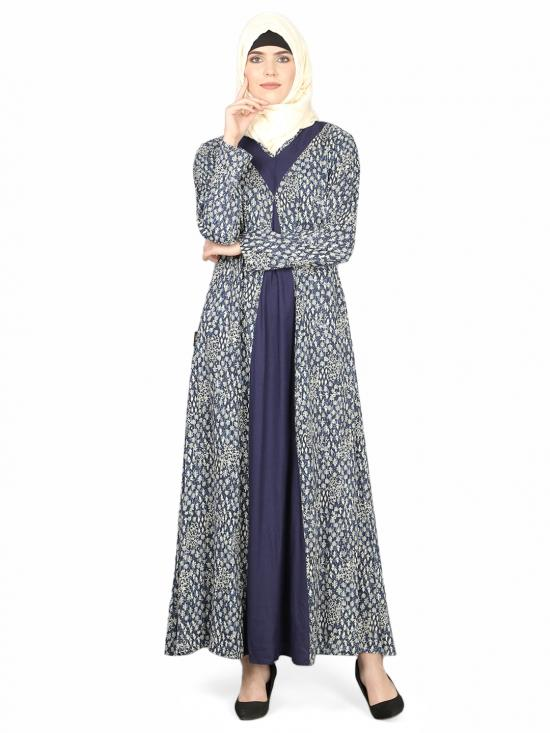 100% Viscose Rayon Printed Contrast Yoke Casual Abaya In Indigo Blue
