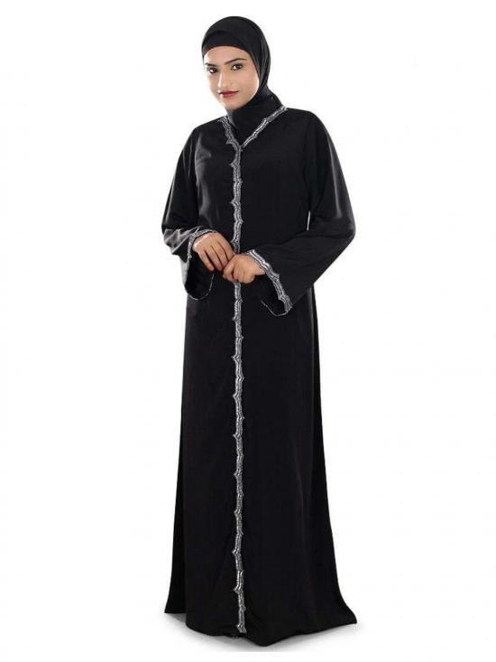 Madiha Hand Embroidered Front Open Burqa In Black
