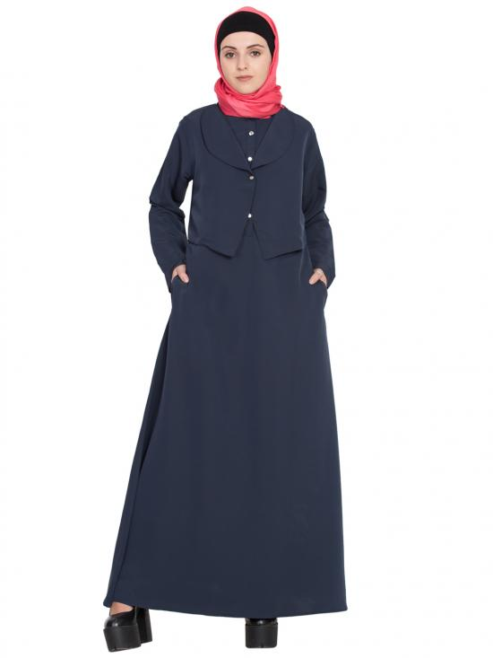 100% Polyester Crape Extra Jacket Front Open Casual Abaya In Navy