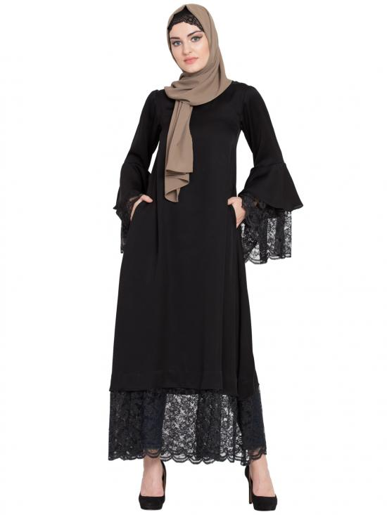 100% Polyester Crepe Bell Sleeve Lace At Bottom And Sleeve Fancy Abaya In Black