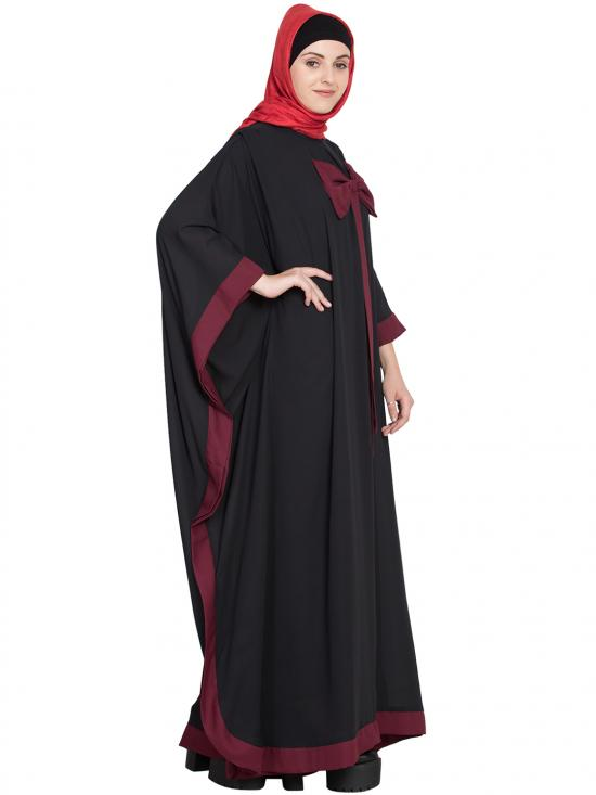 100% Polyester Crape Kaftan Style Bow Abaya in Black and Maroon