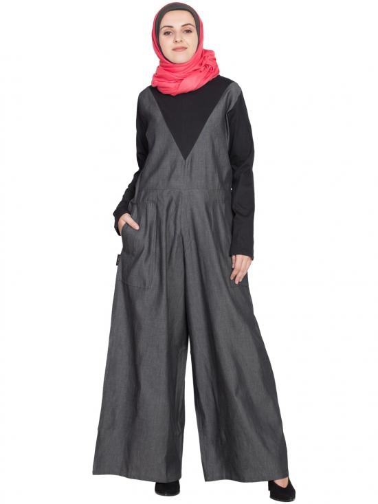 100% Cotton Denim And Jersey Jumpsuit Abaya In Black