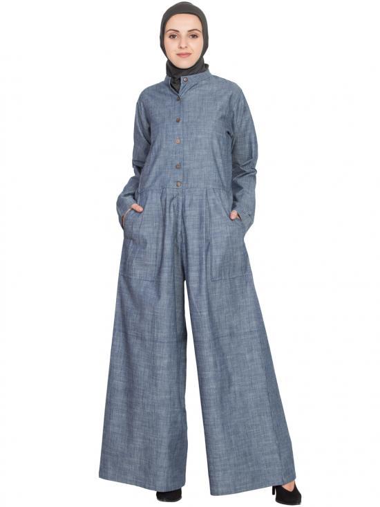 100% Cotton Chambray Patch Pocket Pant Abaya In Denim Blue