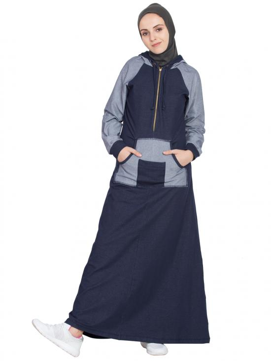 Cotton And Spandex Knits Contrast Sleeve, Pocket, Hood Jersey Abaya In Navy Blue
