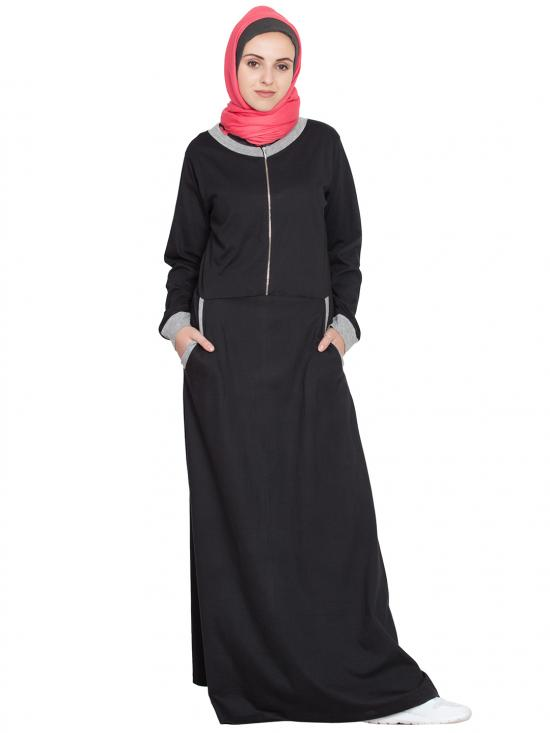 100% Cotton Knits Front Closer Contrast Band, Cuff Travel Abaya in Black and Grey