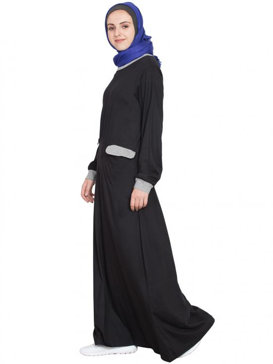 100% Cotton Knits Slant Cut at Waist Travel Abaya in Black and Grey