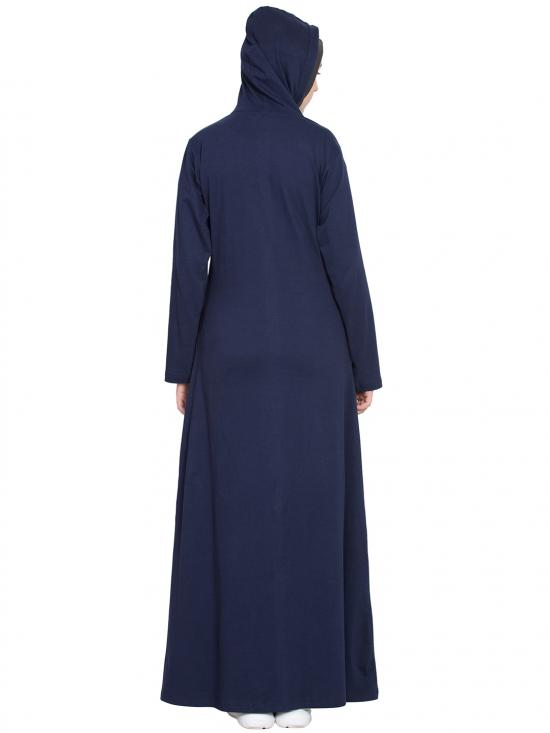 Cotton and Spandex Knits Front Open Patch Pocket, Hood Abaya in Navy Blue