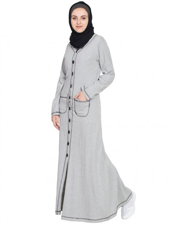 Front Open Contrast Stitching Travel Cardigan Abaya in Silver Grey