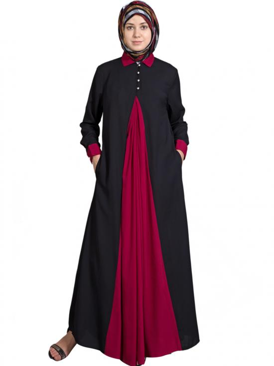 100% Polyester Crepe Contrast Yoke Casual Abaya In Black And Maroon