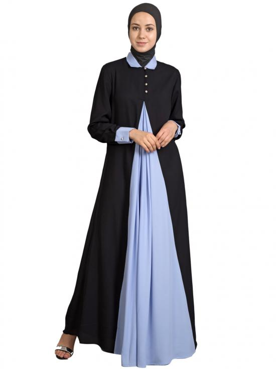 100% Polyester Crepe Contrast Yoke Casual Abaya In Black And Sky Blue