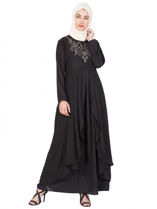 100% Polyester Crepe Neck Embroidered Part Abaya In Black And Grey