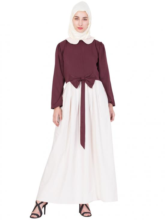 Embroidered Peter Pan Collar Party Abaya In Maroon And Cream