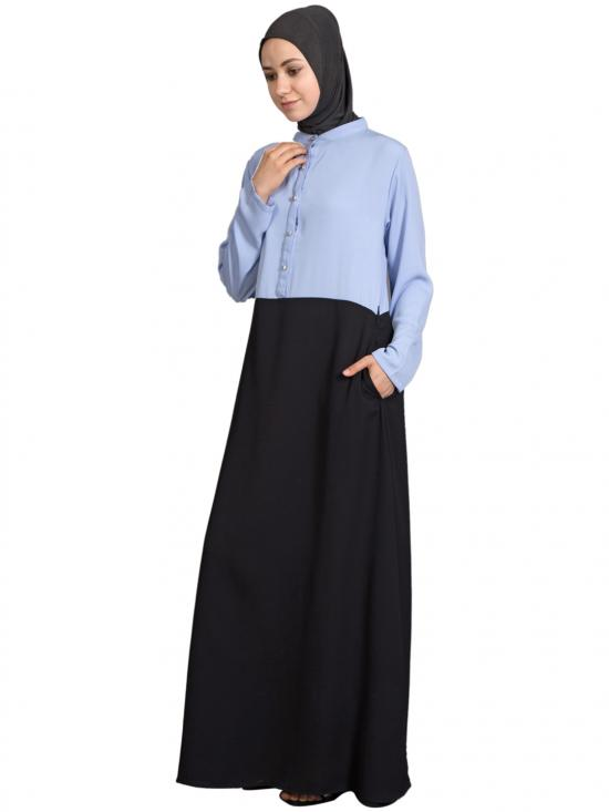 100% Polyester Crepe Contrast Body Abaya in Sky Blue and Black