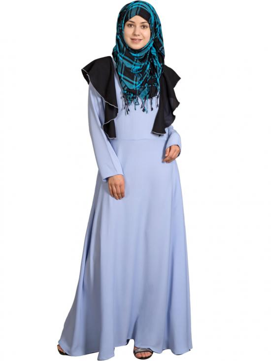 100% Polyester Crepe Frill Collage Girls Abaya In Sky Blue And Black