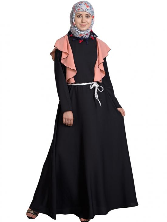 100% Polyester Crepe Frill Collage Girls Abaya In Black And Peach
