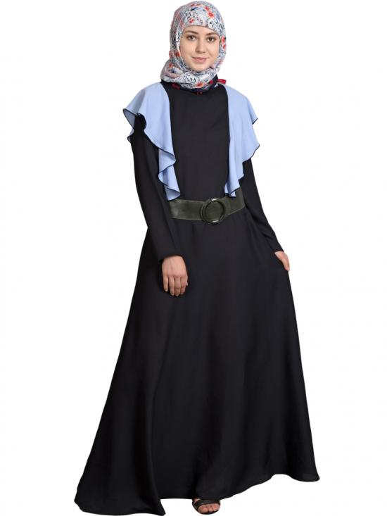 100% Polyester Crepe Frill Collage Girls Abaya In Black And Sky Blue