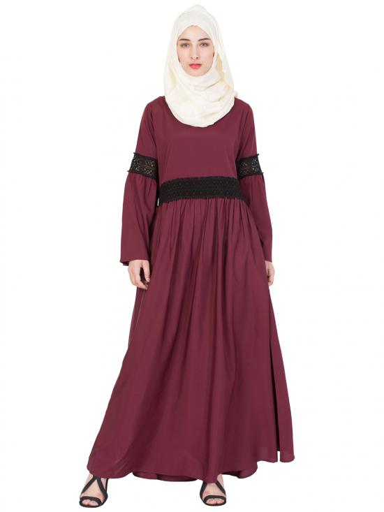 100% Polyester Crepe Lace At Waist And Sleeve Abaya In Maroon