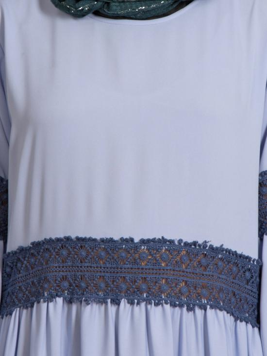 100% Polyester Crepe Lace At Waist and Sleeve Abaya in Sky Blue
