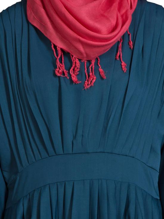 100% Polyester Crepe Pleated Contrast Abaya in Teal