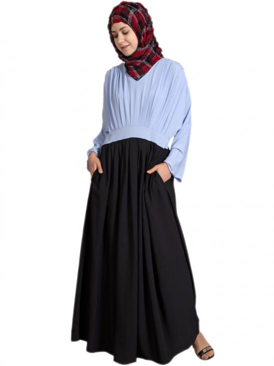 100% Polyester Crepe Pleated Contrast Abaya In Sky Blue And Black