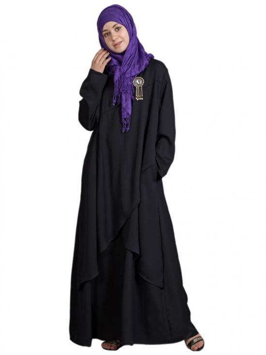 100% Polyester Crepe Overlapped Panel Abaya In Black