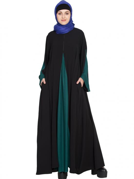 100% Polyester Crape Contrast Yoke A Line Abaya In Black And Green