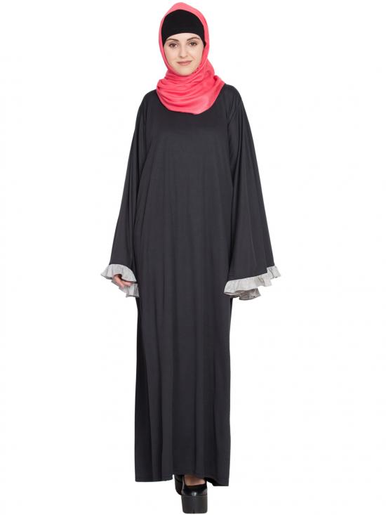 100% Polyester Knits A Line Abaya In Black And Grey