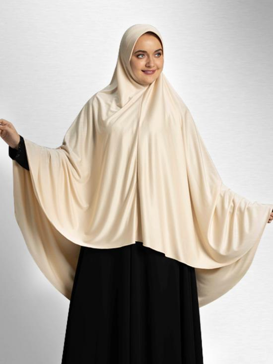 Zakia Ready To Wear Long, Covering Hijab In Wheat