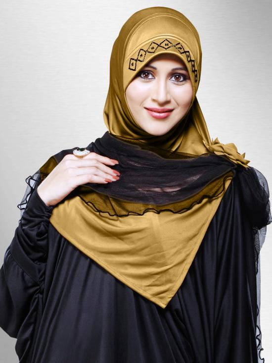 Zenora Ready To Wear Instant Hijab In Gold
