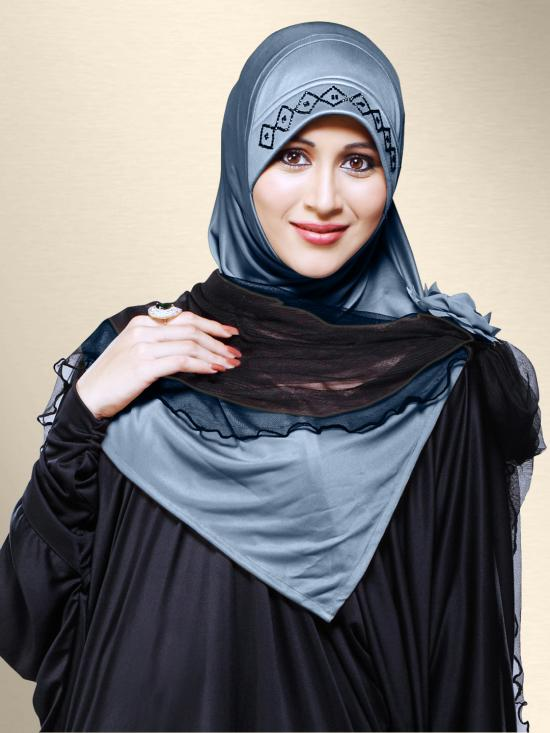 Zenora Ready To Wear Instant Hijab In Grey