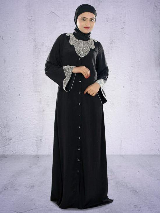 Hifja  Hand Embroidered Burqa In Black