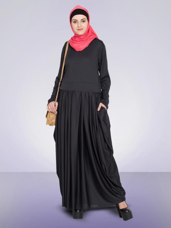 100% Polyester Knits Pleating At Waist Stretchable Knits Abaya In Black