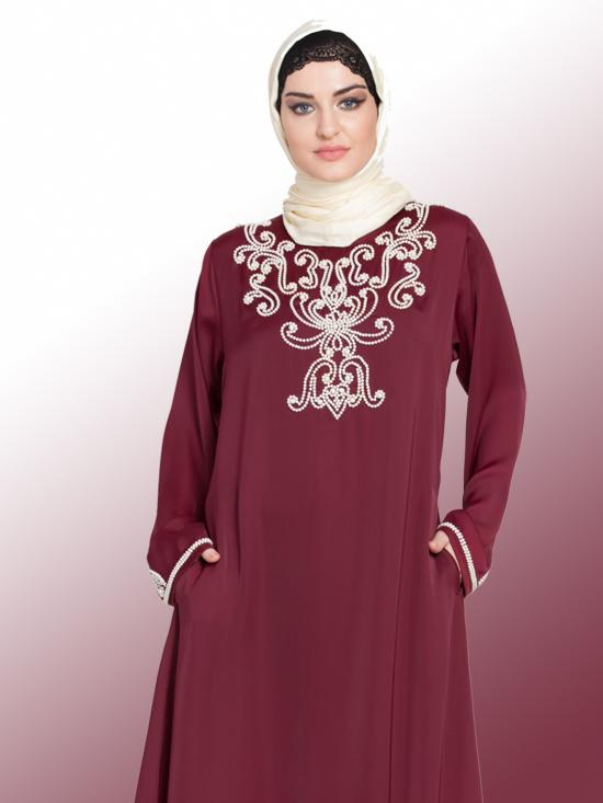 100% Polyester Satin A Line Abaya With Pearls embellished In Maroon