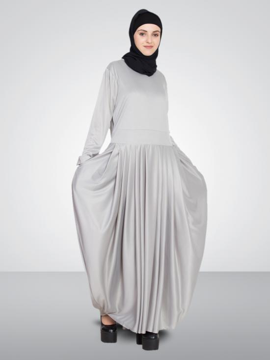 100% Polyester Knits Pleating At Waist Stretchable Knits Abaya In Silver Grey