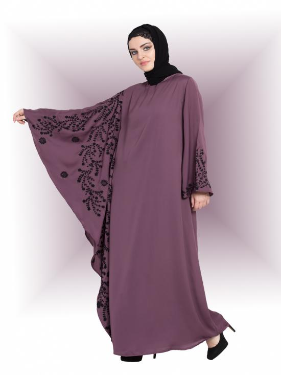 Nida Matte Abaya With Embroidered Butterfly Sleeve In Light Purple