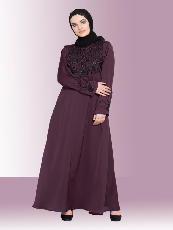 Nida Matte A Line Abaya With Embellishment At Chest And Sleeve  In Wine Regalia