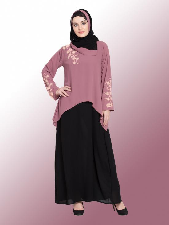100 % Polyster Crepe A Line Abaya With Contrast Double Layer Hand Work In Black And Mauve