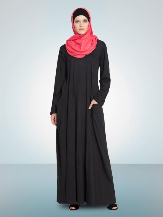 100% Cotton Knits Extended Pocket Jersey Travel Abaya In Black