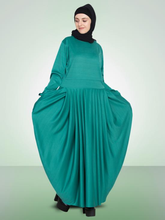 100% Polyester Knits Pleating At Waist Stretchable Knits Abaya In Green
