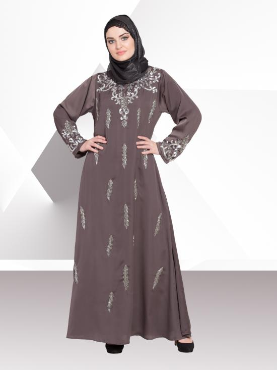 Nida Matte A Line Abaya With Full Hand Embellished In Ash Brown