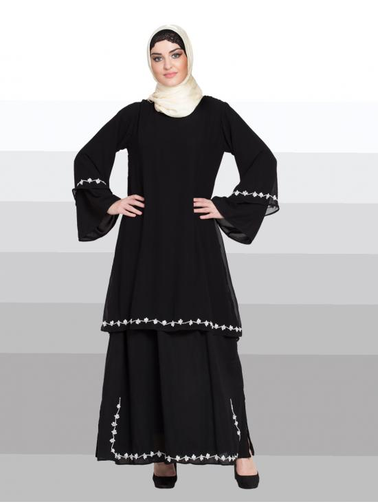 100% Polyester Crepe Abaya WIth Double Layer Bell Sleeve hand embroidered In Black