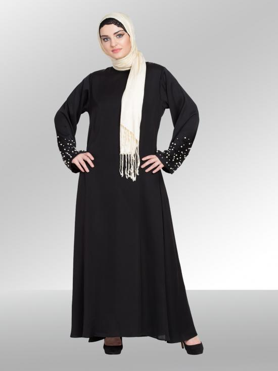 100% Polyester Satin A Line Nida Matte Abaya With Hand Embroidered Pearl At Sleeve In Black