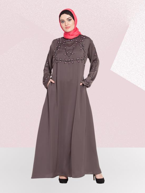 Nida Matte A Line AbayaWIth Hand Embroidered At Chest And Sleeve In Ash Brown