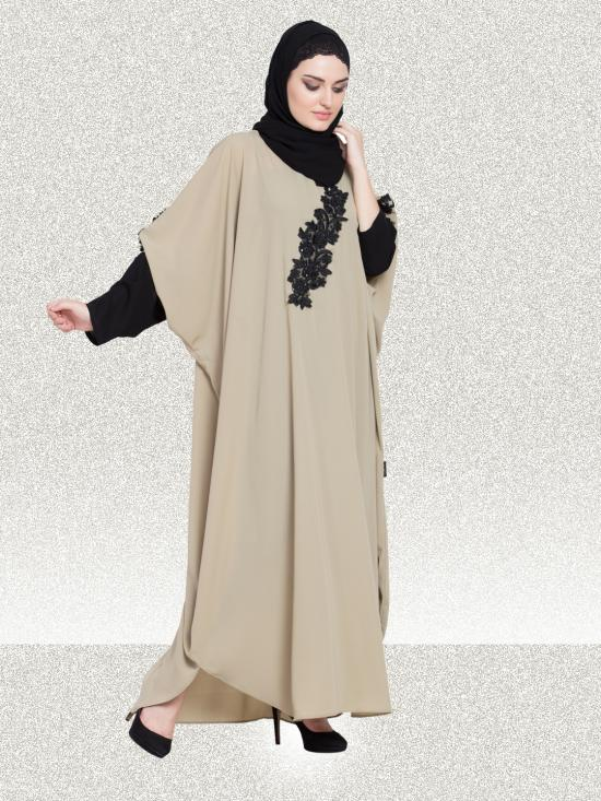 100% Polyester Crepe Kaftan WIth Embellished patch contrast sleeve In Tan