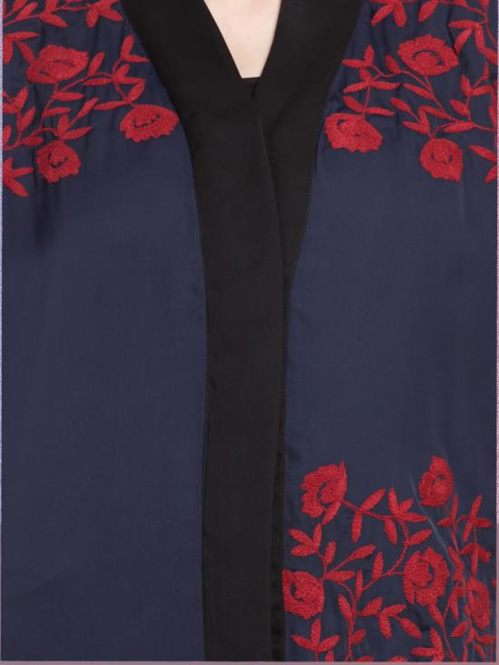 100% Polyester Satin Embroidered Abaya With Front Open In Navy Blue & Red