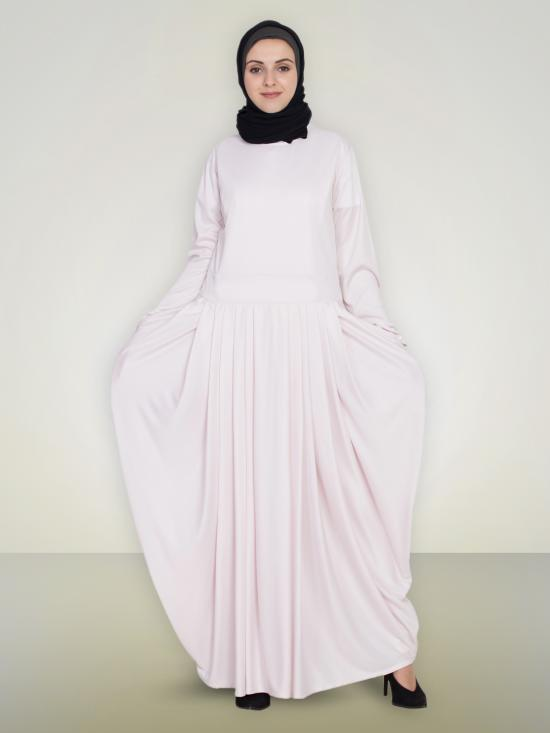 100% Polyester Knits Pleating At Waist Stretchable Knits Abaya In Light Pink