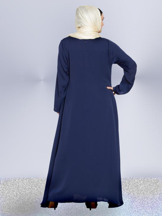 100% Polyester Satin Abaya With Front Embroidered Umbrella Cut In Navy Blue